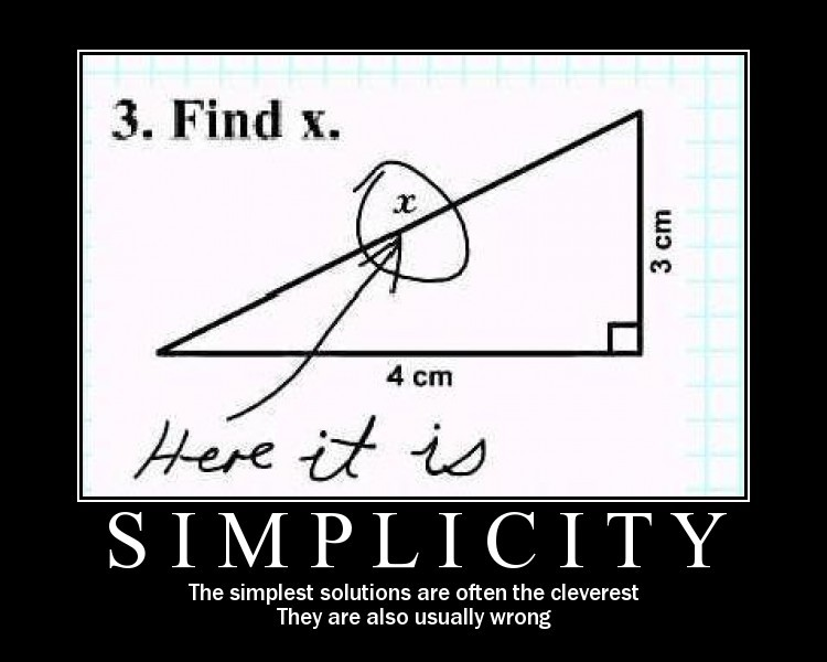 The simplest solutions are often the cleverest. They are also usually wrong.jpg